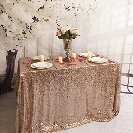 TRLYC 90u0026quot;132u0026quot; Rose Gold 6FT Table Fabric Sequin Tablecloth  Sparkly Table Cloth Shimmer