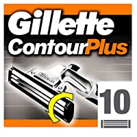 Gillette Contour Plus Cartridges Razor Blades, 10 Refills