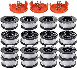 "KAKO String Trimmer Spool Replacement for Black and Decker AF-100 AF-100-3ZP AF-100-BKP 30ft 0.065"" Trimmer Line Replacement Spool Compatible with GH900 GH600 GH610 Edger(16 Spools, 3 Cap,3 Spring)"
