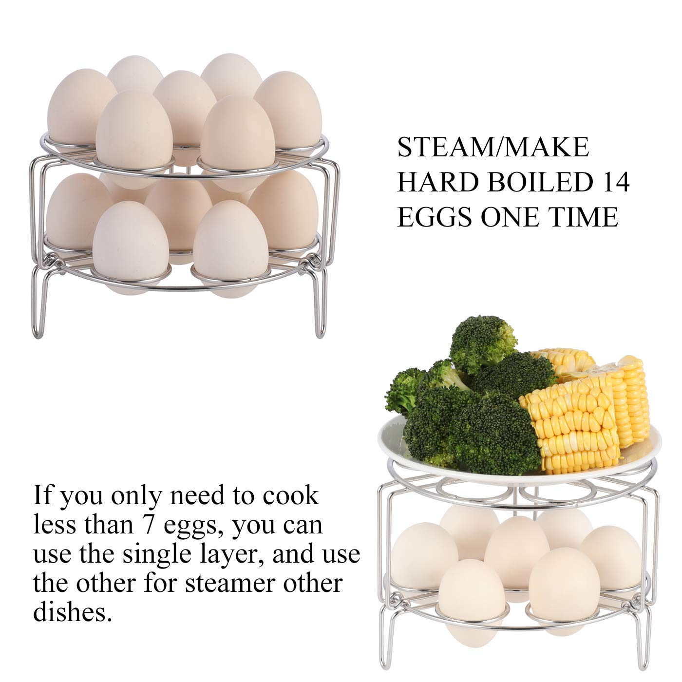 Aozita Stackable Egg Steamer Rack Trivet for Instant Pot Accessories - Fits 5,6,8 qt Pressure Cooker - 2 Pack Stainless Steel Multipurpose Rack by Aozita (Image #3)