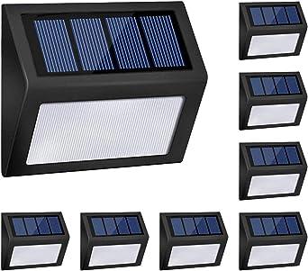 LED Luces de Paso Solar Exterior Inalámbrico Luz solar de Escalera día y noche Inducción automática Impermeable Luz de seguridad Luz solar de garaje para Puerta delantera Patio trasero Carril,8pack: Amazon.es: Iluminación
