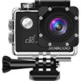 SOOCOO アクションカメラ 4K超高画質 2000万画素 170度広角 wifi搭載 2インチ液晶画面 1350mAH 手ブレ補正30m防水 リモコン付き 25個付属品付き C30Rウェアラブルカメラ ブラック