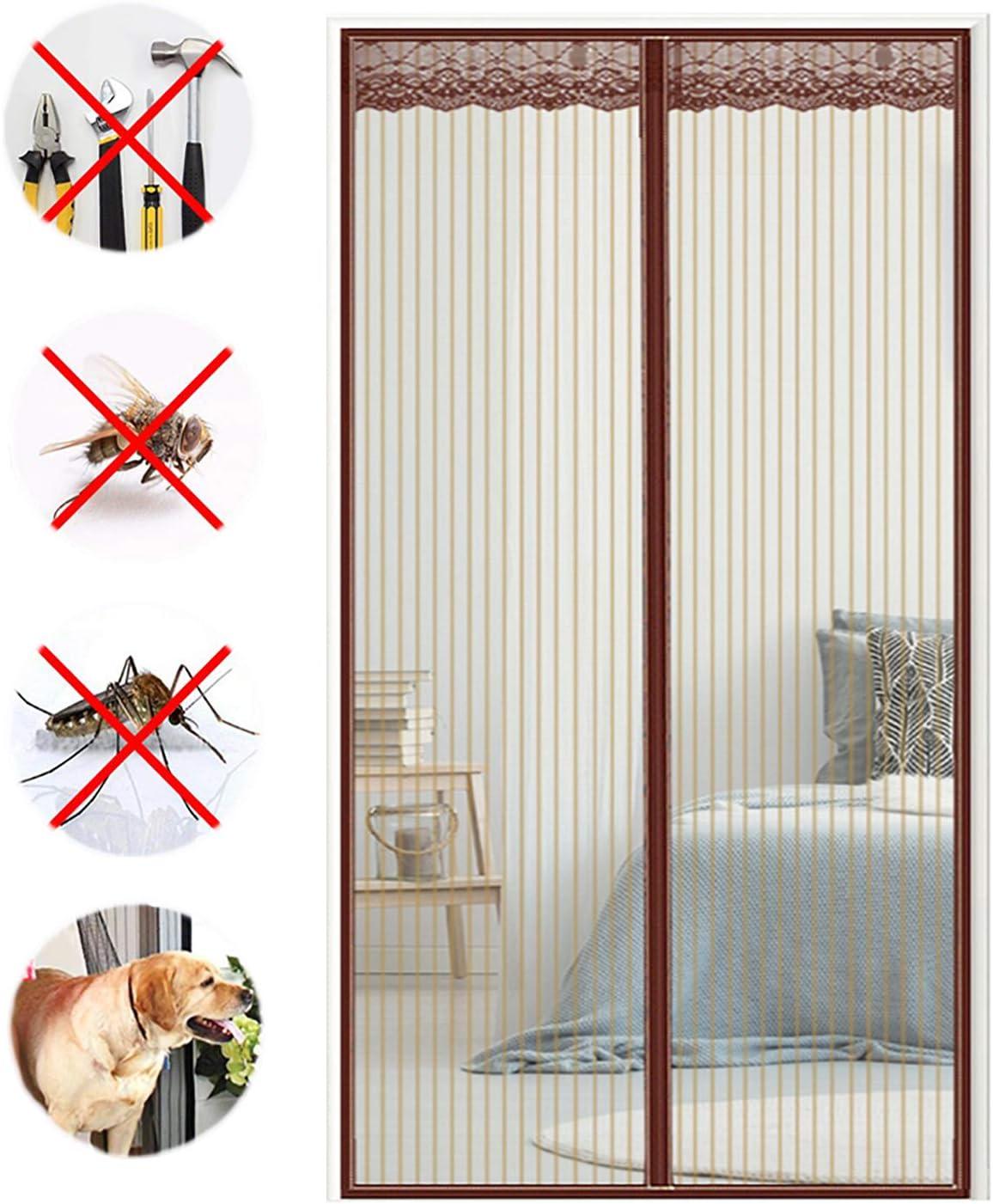 COUEO Cortina Mosquitera Magnetica, Anti Insectos Moscas y Mosquitos para Puertas Correderas/Balcones/Terraza - Marrón 200x240cm: Amazon.es: Hogar