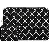Mosiso ラップトップ ブリーフバッグ 幾何学 スタイル キャンバス布地 ケースカバー 13-13.3 インチ ノートパソコン/MacBook Pro/MacBook Air用 収納ポーチ付き(ブラック&四葉)