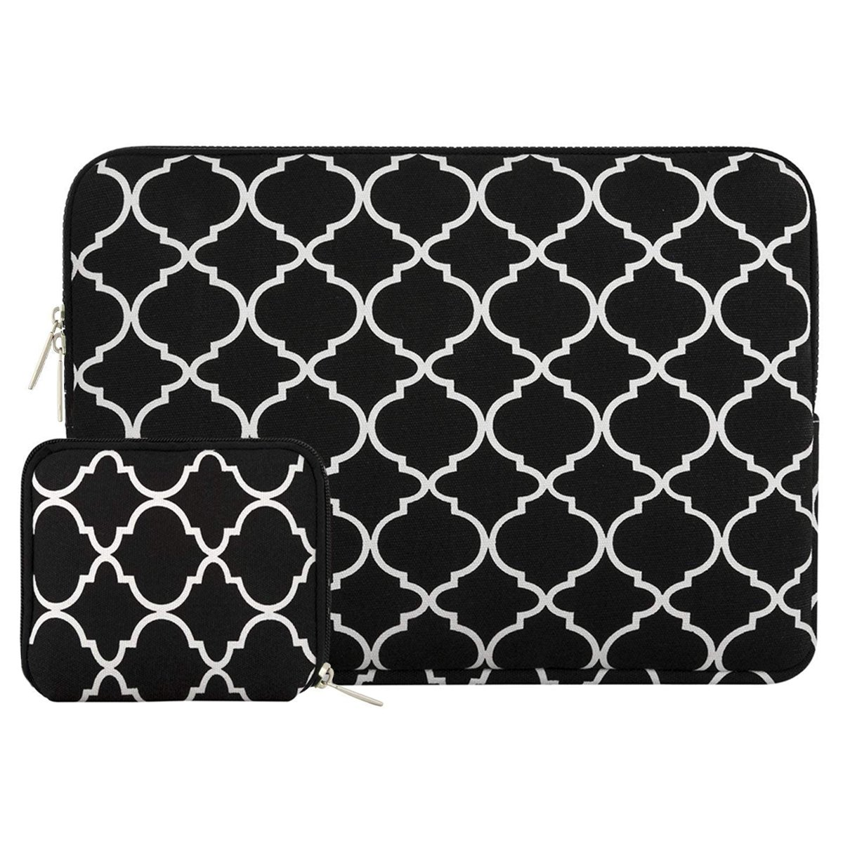 Mosiso Quatrefoil Style Canvas Fabric Laptop Sleeve Bag Cover for 13-13.3 Inch MacBook Pro, MacBook Air, Notebook with a Small Case, Black OT-13-Quatrefoil-Black