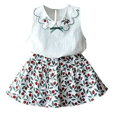 743f37a82 Amazon.com: Fashion Toddler Baby Girls Clothes Outfit Sleeveless Doll  Collar Vest Tops+Floral A-Line Short Skirts 2PCS Sets: Clothing