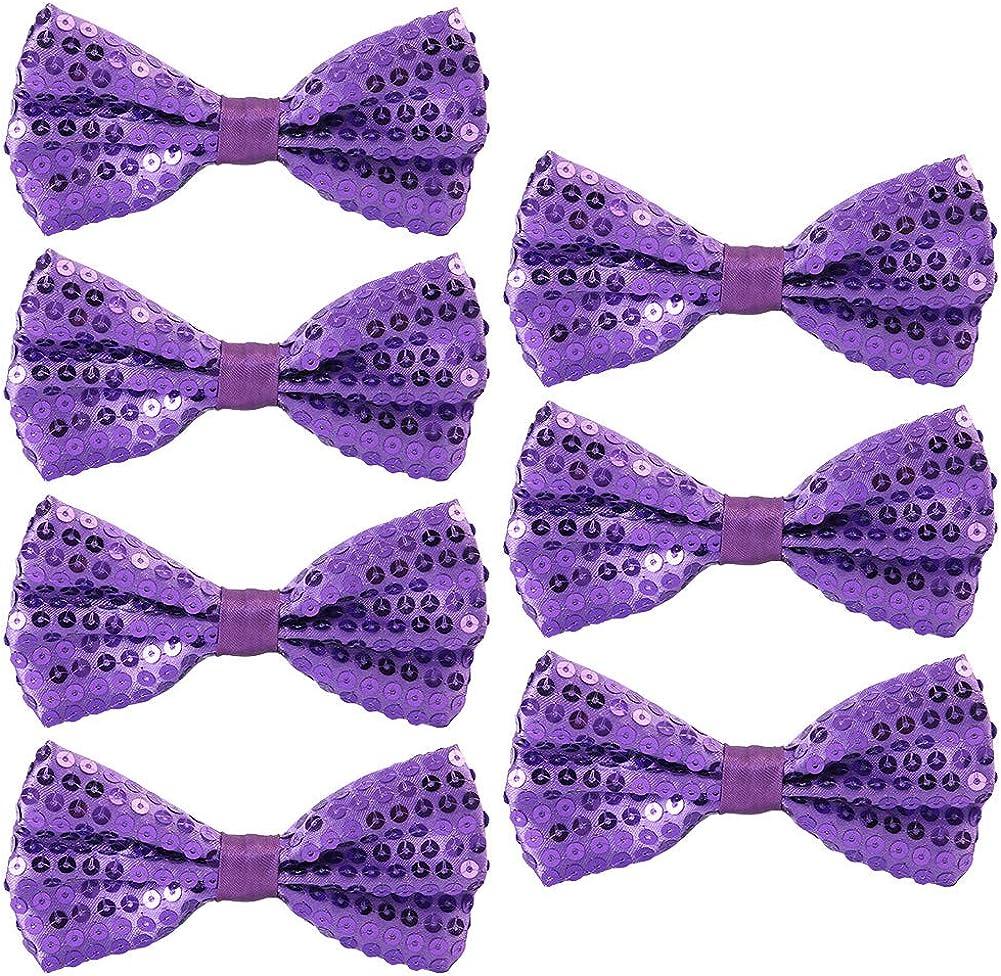Glitter Bow Tie Gi/à Annodato Uomo Donna Bambino Papillon per Fancy Costume Party Accessorio Feelava Papillon di Paillettes 7 Pezzi Regolabile Cravatta a farfalla