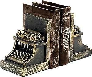 Bellaa 25747 Typewriter Bookend Retro Vintage Style Gold 7 inch