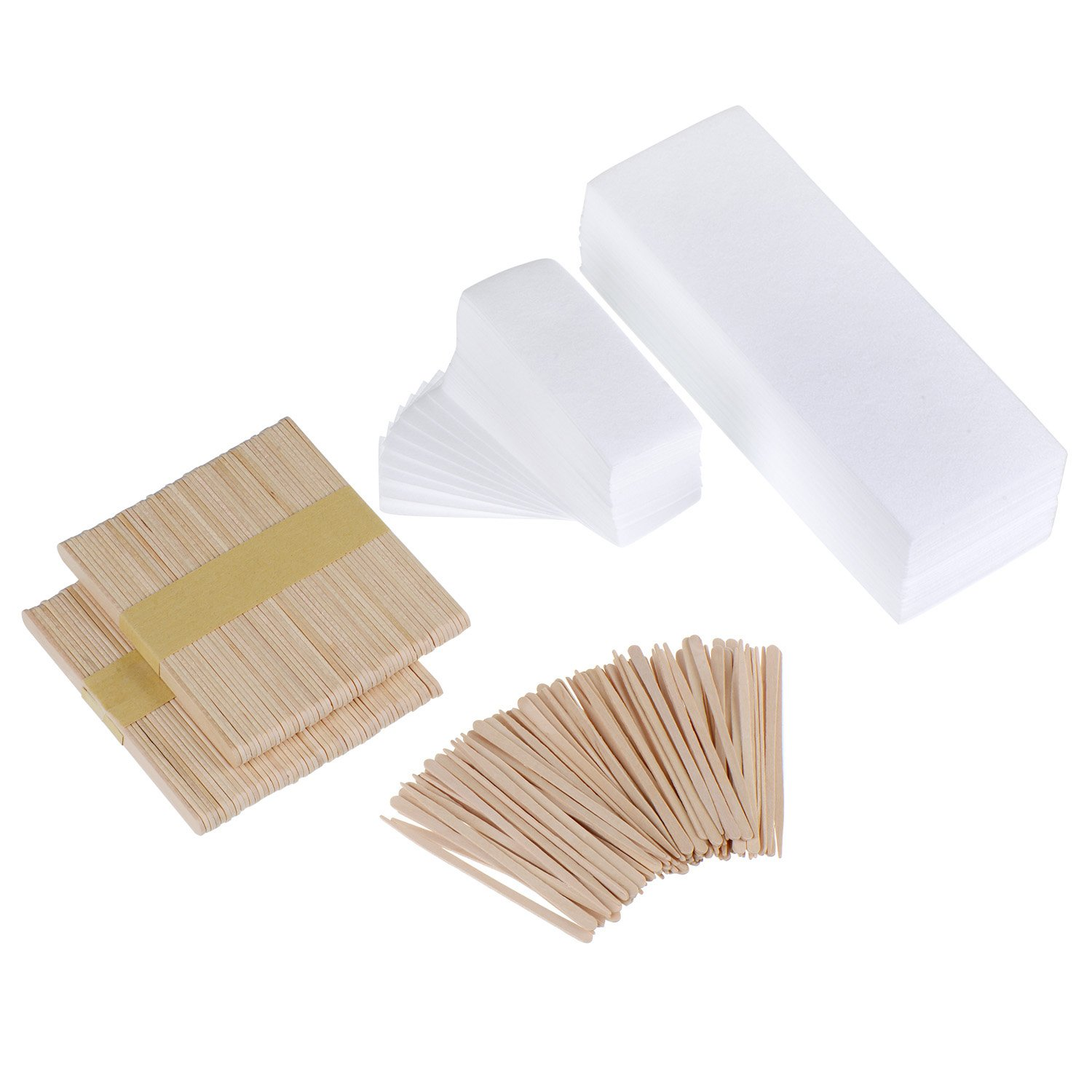 200 Pieces Waxing Strip Non-Woven Wax Strip Hair Removal Wax Strips and 200 Pieces Wax Applicator Sticks Mudder