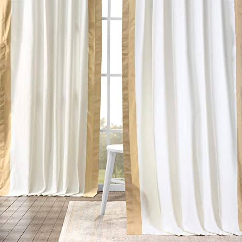HPD Half Price Drapes PRCT-VC1715-84 Vertical Colorblock Panama Curtain 1 Panel , 50 X 84, Fresh Popcorn and Shaker Beige