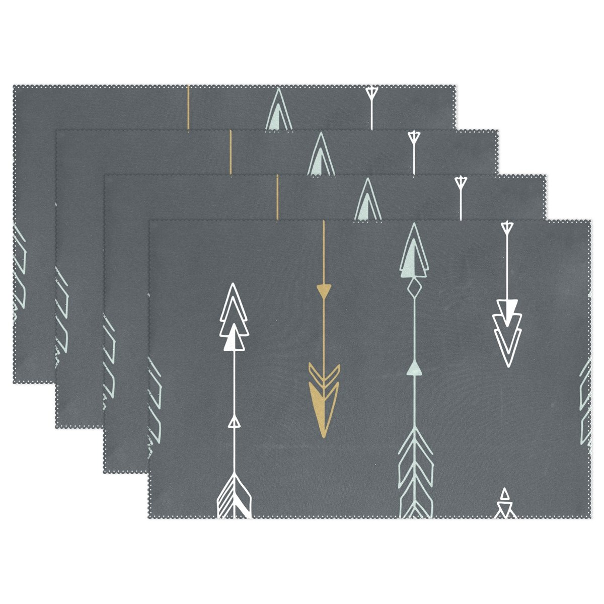 ALAZA Geometric Tribal Arrows Placemats Heat-resistant Washable Table Mats 12 X 18 Inch Placemats for Family Kitchen Hotel Coffee Shop Dinning Restaurant, Set of 6