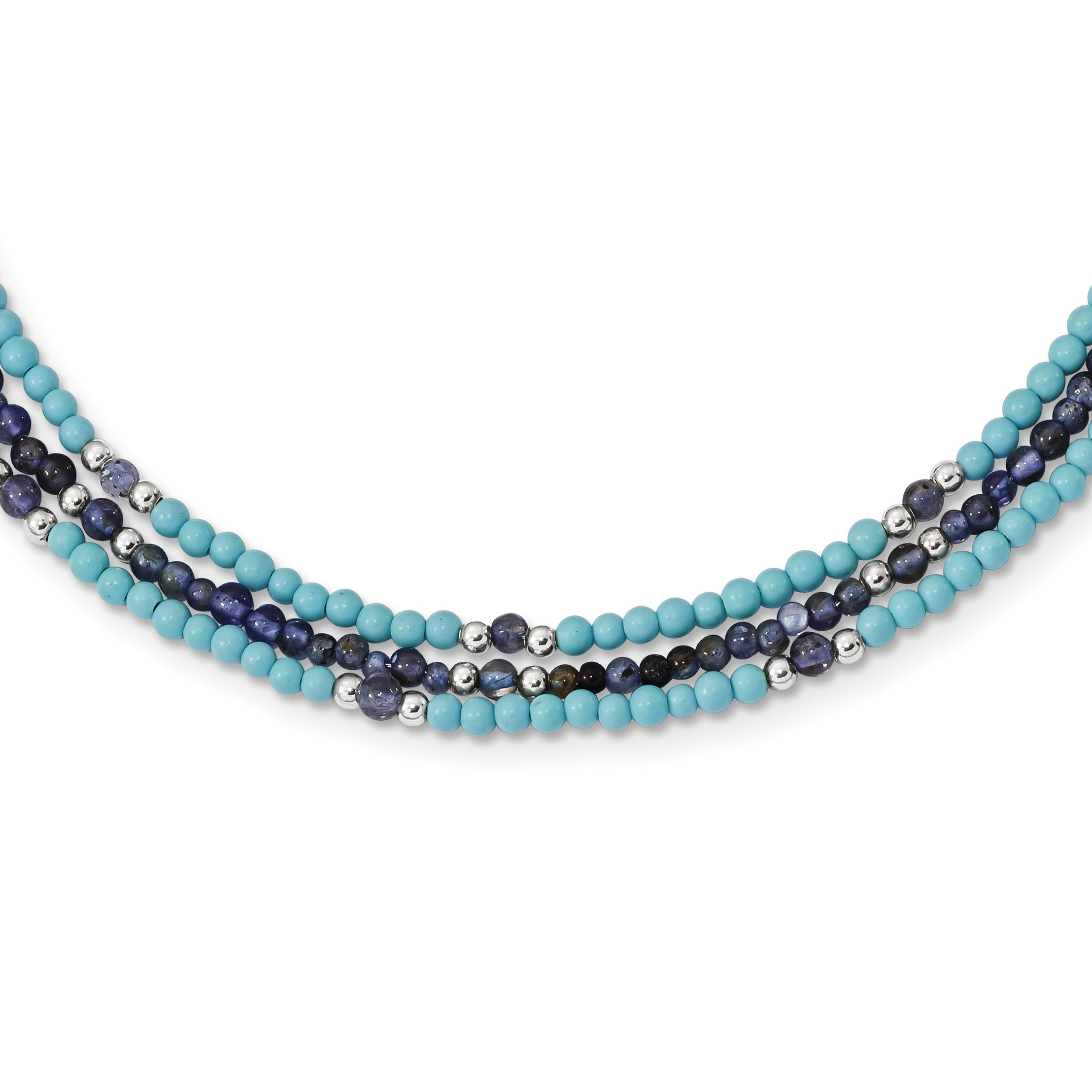 ICE CARATS 925 Sterling Silver Iolite/lapis Quartz/recon. Blue Turquoise 3 Strand 2 Inch Extension Chain Necklace Natural Stone Fine Jewelry Gift For Women Heart