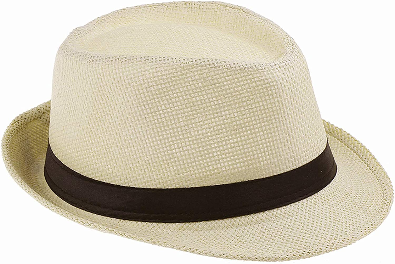 Womens Mens Summer Sun Hats Trilby Gangster Cap Sunhat Beach Sun Straw Panama Hat