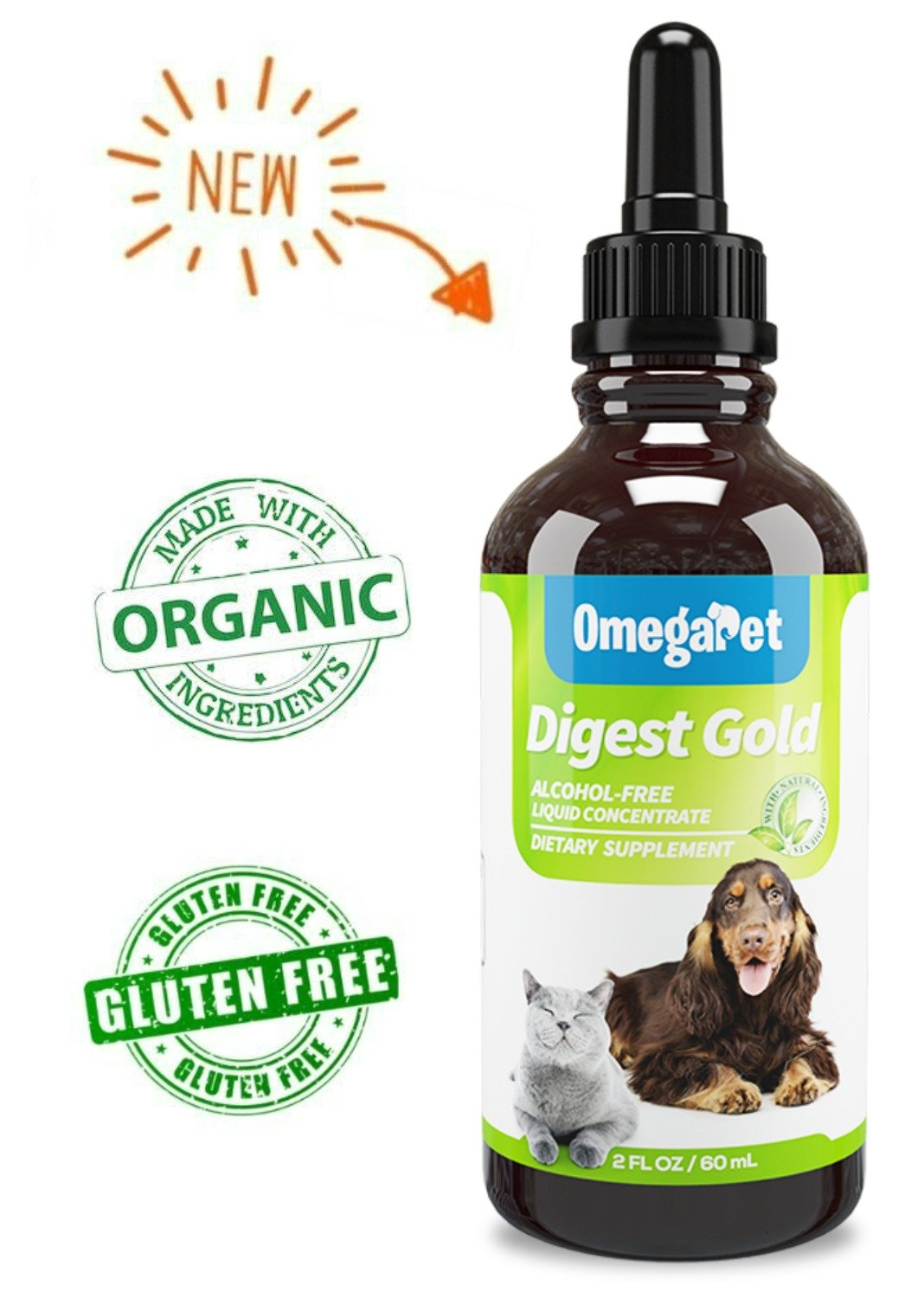 Digestive Enzymes for Dogs and Cats - Liquid Dog Diarrhea Treatment - Organic Consitpation Relief for Dogs - Diarrhea Medicine for Dogs