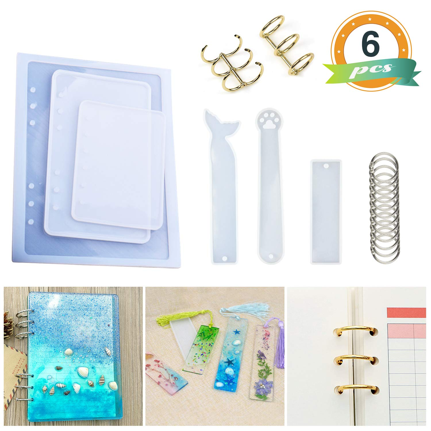 Resin Casting Molds for Notebook Cover A5 A6 A7, Silicone Bookmark Resin Mold 6PCS, Silicone Notebook Cover Clear Casting Epoxy Resin Molds with 14PCS Book Rings for Epoxy Resin Jewelry DIY Fans by LET'S RESIN
