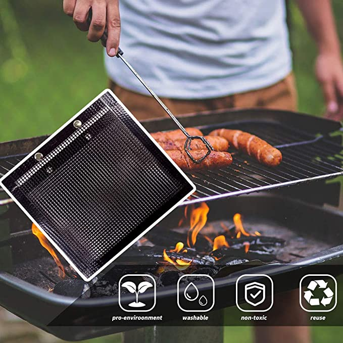 Details about  /2pcs Heat Resistant PTFE BBQ Mesh Grill Pad Outdoor Picnic Barbecue Baking Pouch