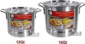 Stockpot Set With Steamer Aluminum Vaporera Tamalera Traditional Stock Pot Olla Tamale (Set 12Qt/16Qt)