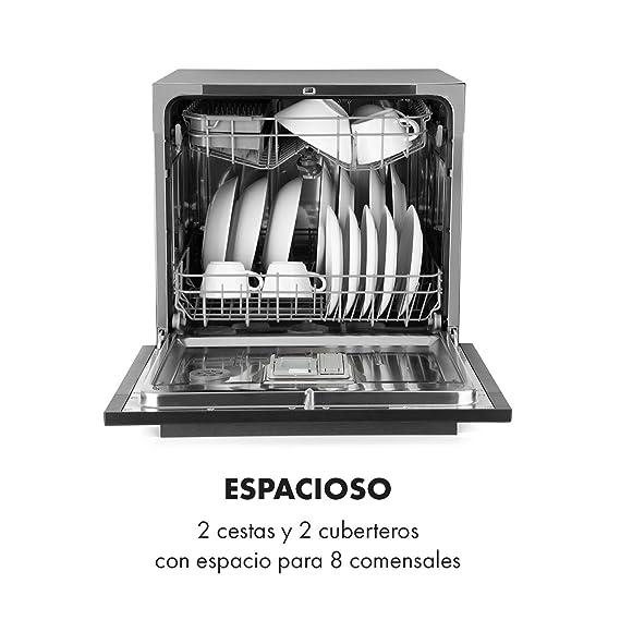 Klarstein Amazonia 8 Myst - Lavavajillas empotrado, Máquina lavaplatos, 6 programas: automático, intensivo, normal, ECO, vidrio, rápido y autolavado, ...