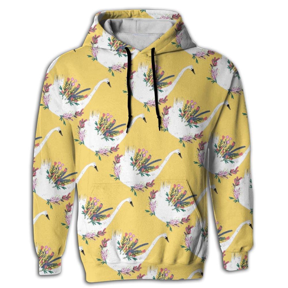 Flower Swan Animals Mens Sleeve Hoodie colorful Mens Hoodies