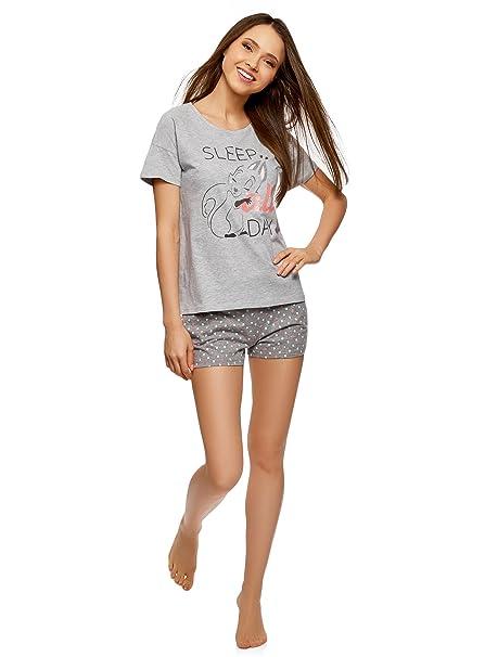 oodji Ultra Mujer Pijama Estampado con Pantalones Cortos, Gris, ES 42 / L