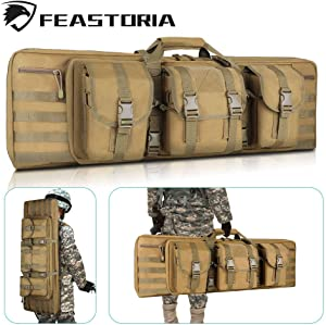 Feastoria Double Long Soft Rifle Case Gun Bag, Durable Tactical Carbine Rifle Bag, 36 Inch, Perfect for Rifle and Pistol Storage or Transportation