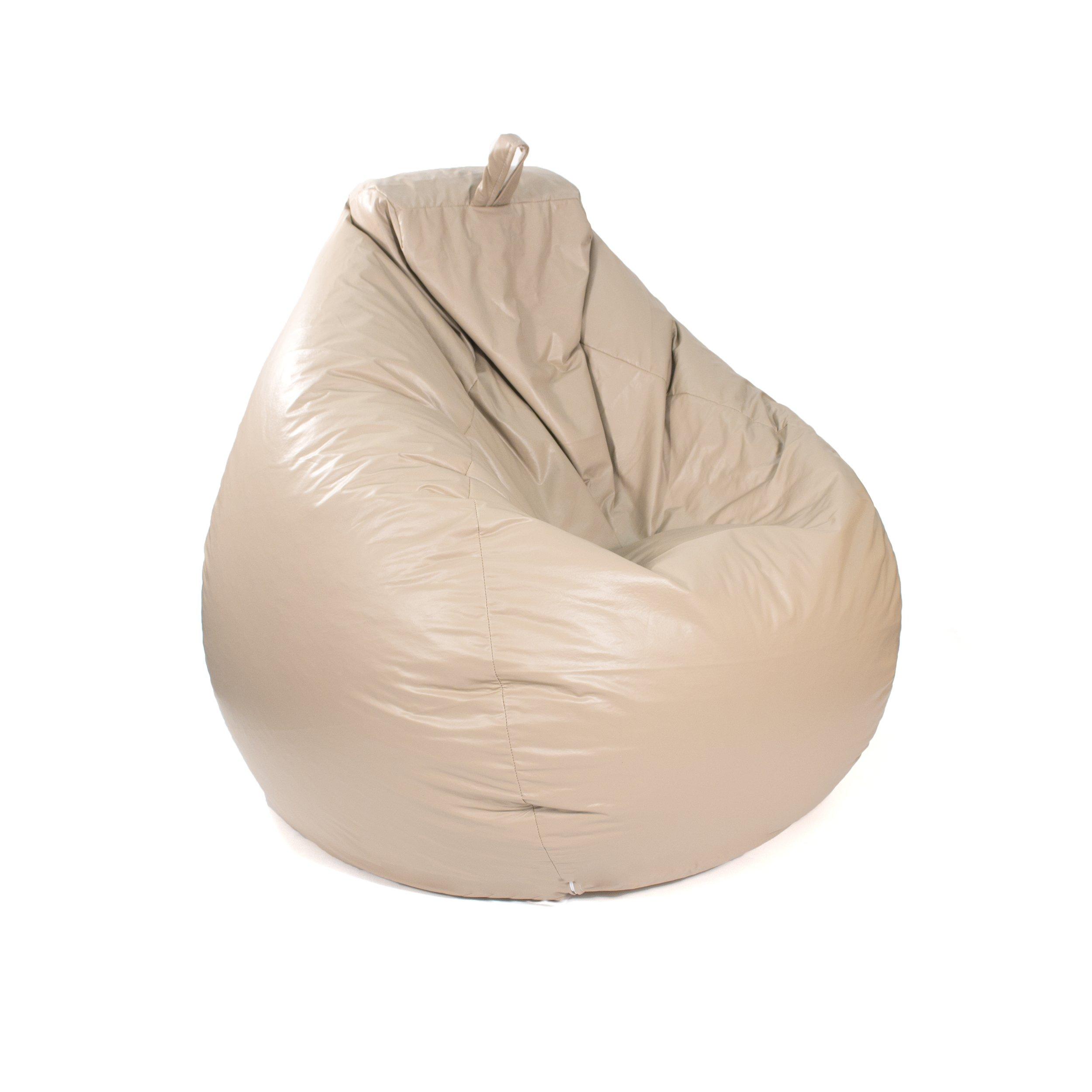 Gold Medal Bean Bags Tear Drop Leather Look Vinyl Bean Bag, Large, Cobblestone