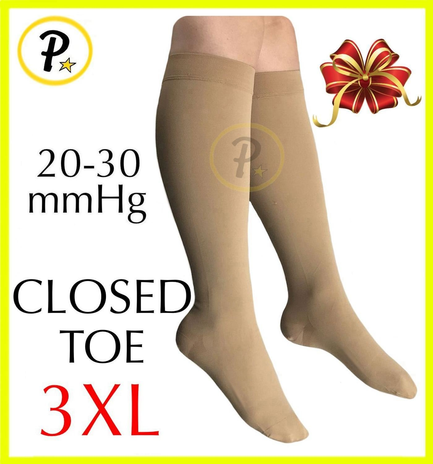 Presadee Closed Toe (BIG & TALL SUPER SIZE) Traditional 20-30 mmHg Compression Grade Swelling Veins Ankle Calf Leg Sock Support (3XL, Beige)