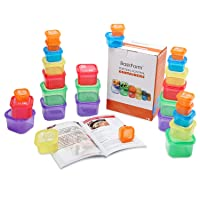 BasicForm 21 Day Portion Control Containers 28 PCS with Recipe Book & Printable Daily Tracker, Labeled Meal Food Containers for Weight Loss
