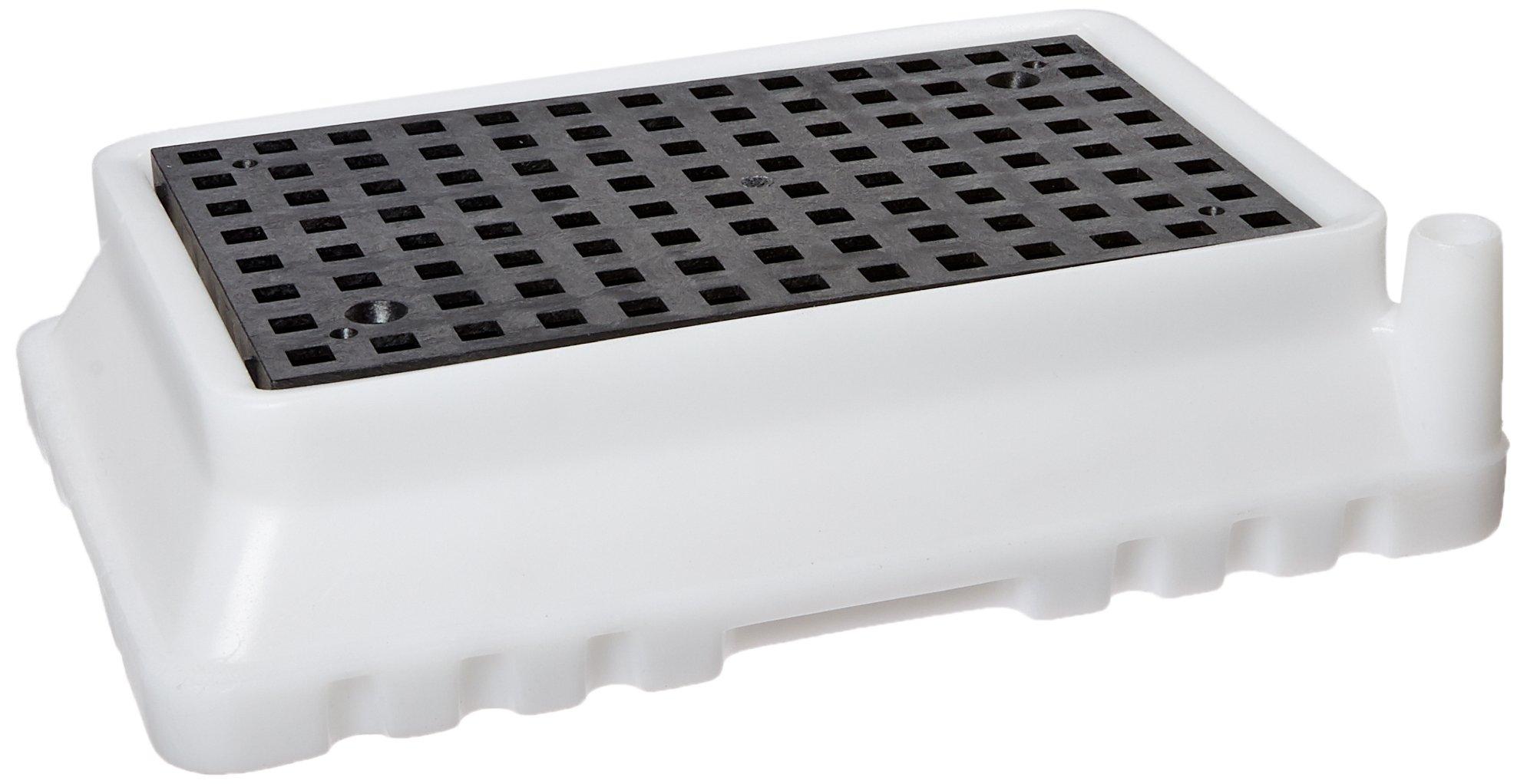 New Pig PAK371 Polyethylene Spill Containment Tray, 1.5 Gallon Sump Capacity, 16-5/8'' Length x 12'' Width x 3.88'' Height, White/Black