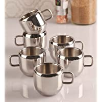 Mayur Exports Double Wall Stainless Steel Apple Tea & Coffee Cups,Set of 6, 100 Ml