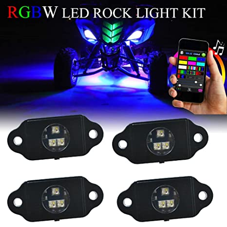 LED Multi Color Jeep Off Road Rock Lighting RGB 4Pc Kit Bluetooth IOS Android