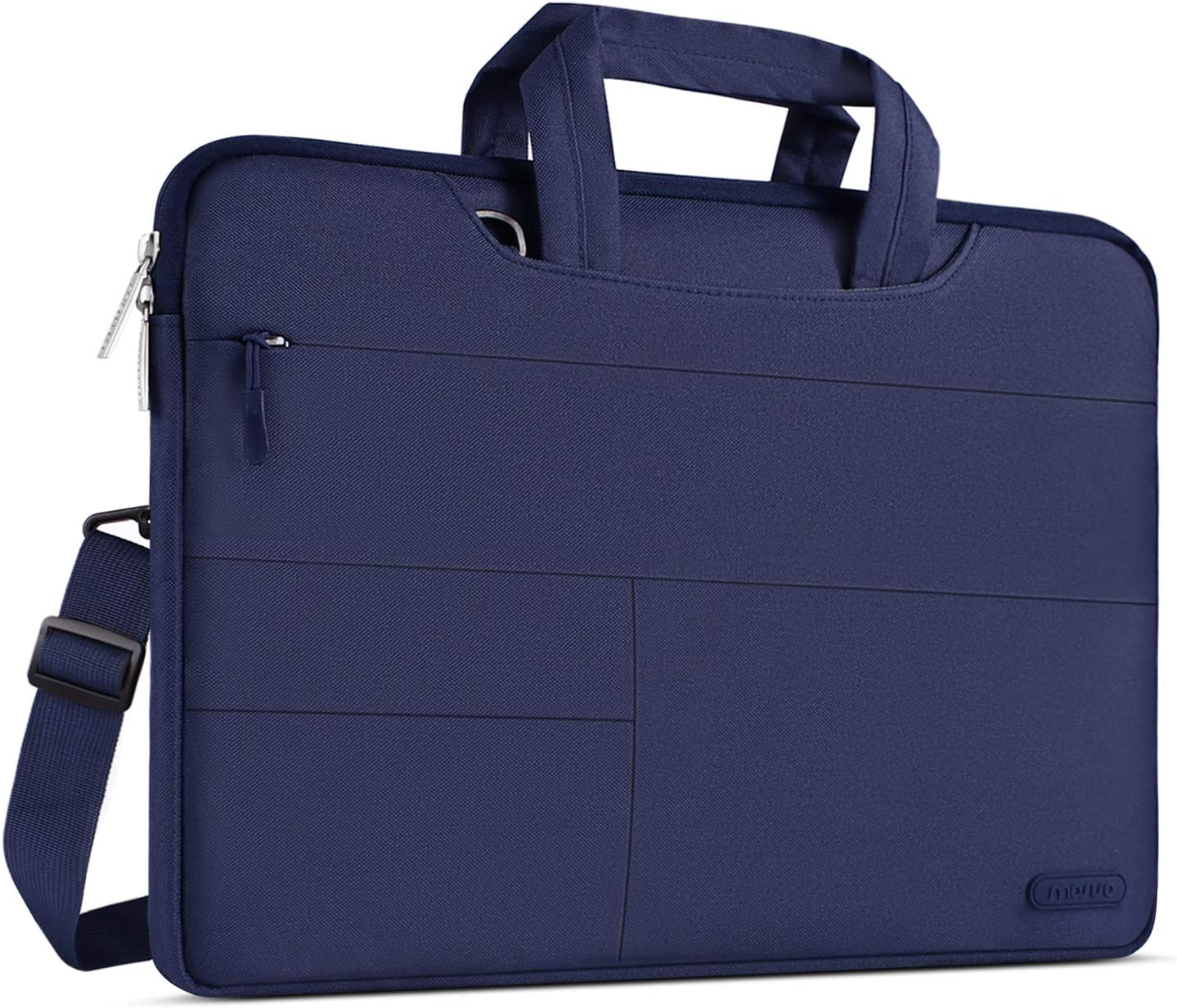 MOSISO Laptop Shoulder Bag Compatible with MacBook Pro 16 inch, 15 15.4 15.6 inch Dell Lenovo HP Asus Acer Samsung Sony Chromebook, Polyester Briefcase Sleeve with Front Storage Pockets, Navy Blue
