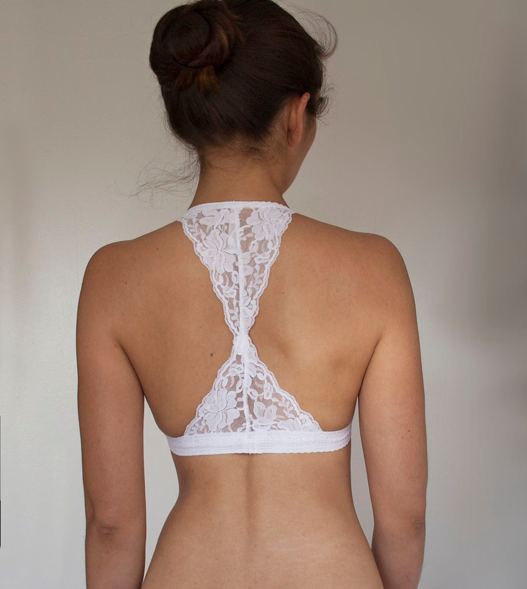 White Lace Bralette. Triangle Back Halter Wireless Bra Top. Bridal Lingerie