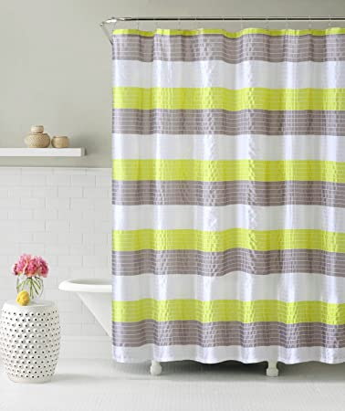 Fabric Shower Curtain Stripe Design Lime Green Gray Amazoncouk Kitchen Home