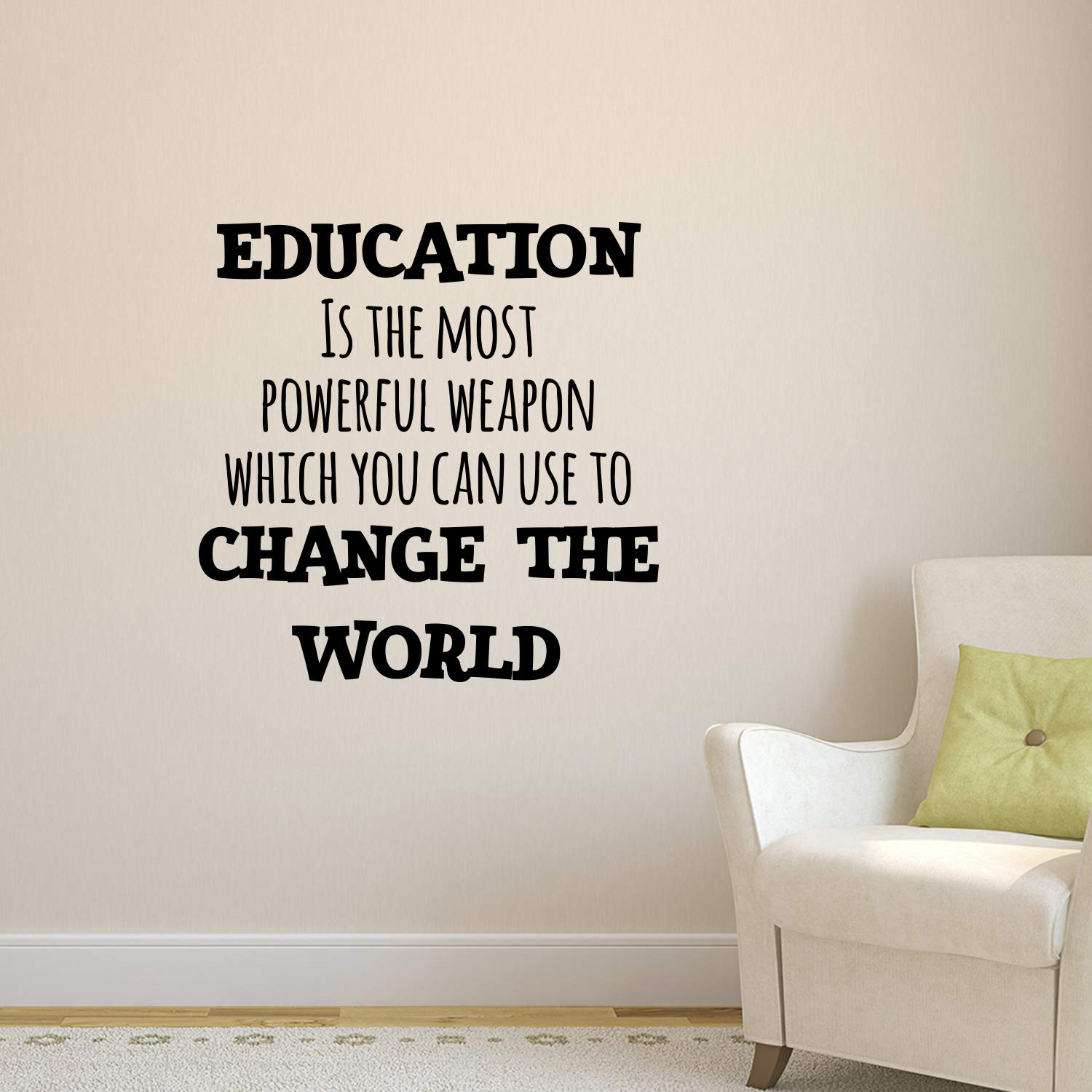 Vinyl Wall Art Decal Motivational Quote Education is The Most Powerful Weapon Which You Can Use to Change The World 23 x 23 Living Room Bedroom Home School Wall Decor Removable Sticker Pulse Vinyl