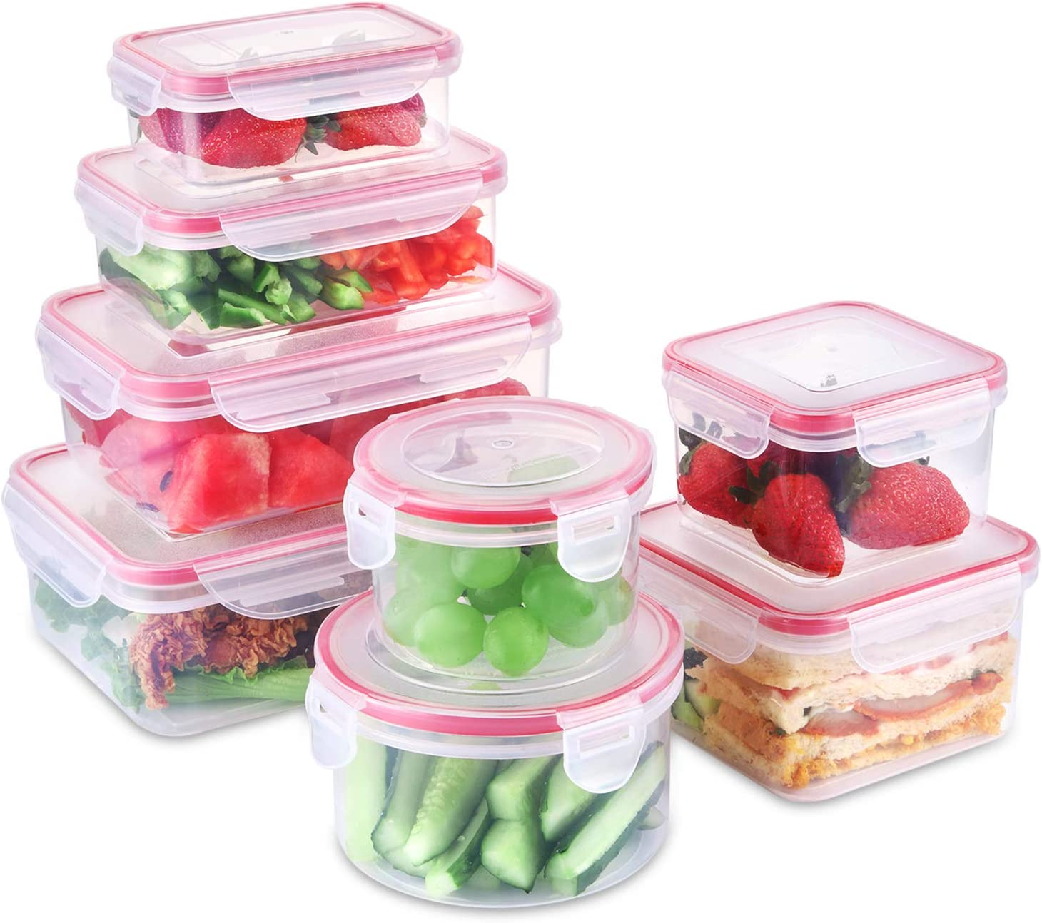 SHOMOTE Food Storage Containers with Lids Airtight, Plastic Lunch Containers BPA-Free, Stackable Kitchen Freezer Containers, Microwave & Dishwasher Safe, Gift Idea, Set of 8