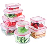 SHOMOTE Food Storage Containers with Lids Airtight, Plastic Lunch Containers BPA-Free, Stackable Kitchen Freezer Containers,