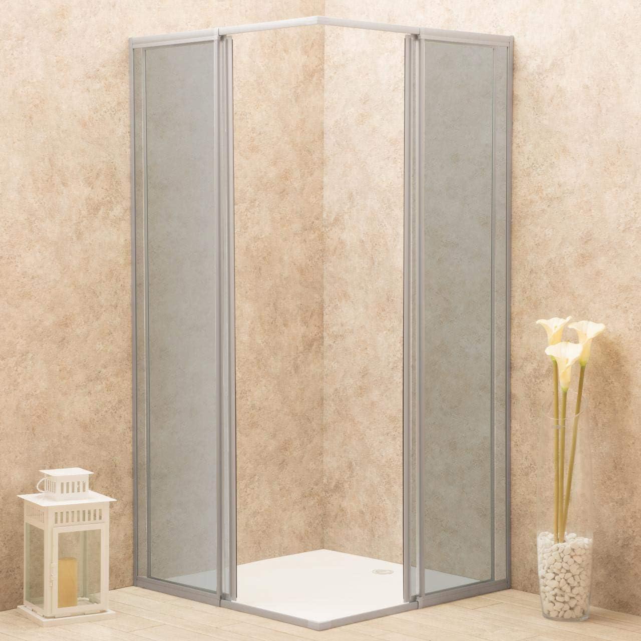 Cabina de ducha ajustable reversible 75 x 78 cm cristal 6 mm ahumado angular: Amazon.es: Bricolaje y herramientas