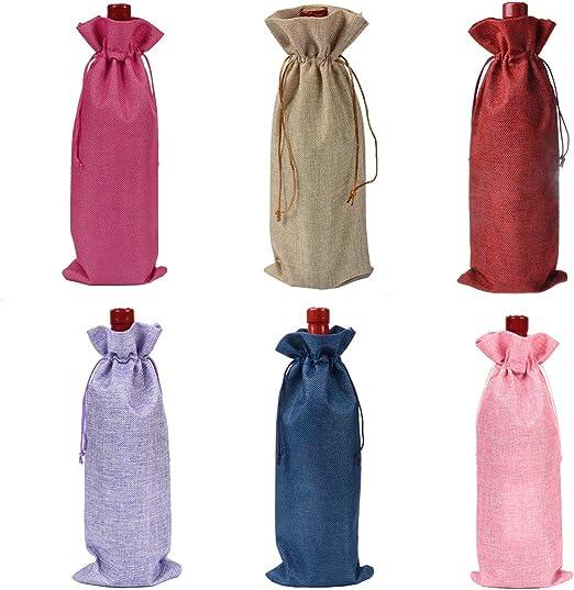 fiesta de cumplea/ños bolsa de regalo para botella de vino con cord/ón para boda festival 30 bolsas de vino de organza decoraci/ón rojo + oro + morado, 750 ml