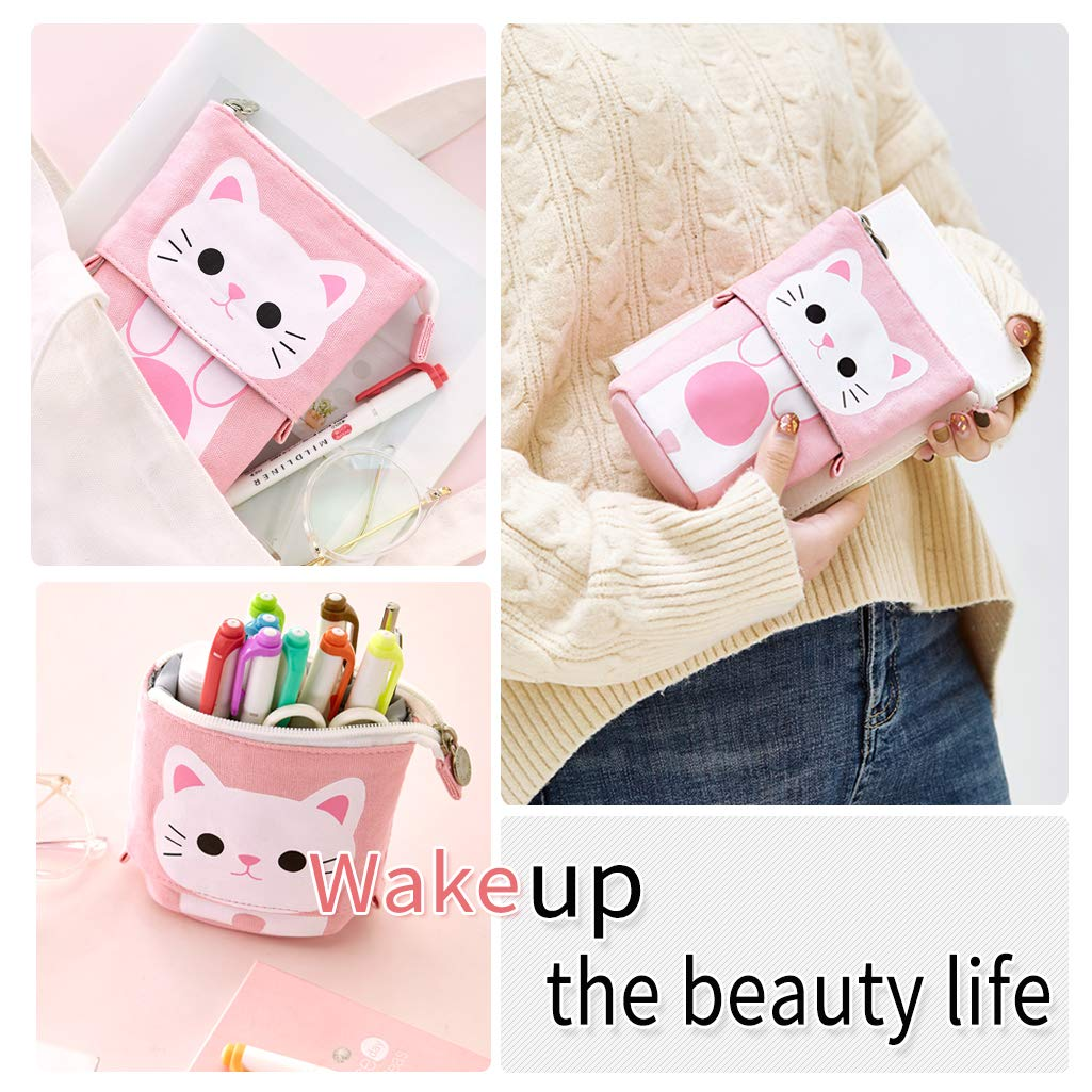 Blue EASTHILL Cute Pencil Pen Case Holder Bag Pouch for School Student Girl Boy Children Adult