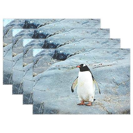 Amazon Com Placemats Penguin Black Rock Kitchen Table Mats