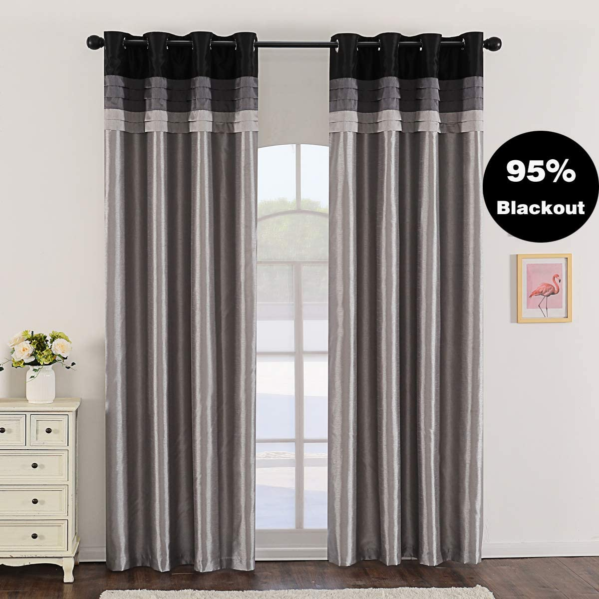 Jarl home 95 Grey Blackout Curtains for Bedroom Stitching Luxury Faux Silk Curtain with Darkening Liner Grommet 2 Panels Kitchen Curtains for Living Room
