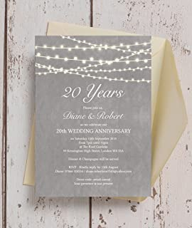 Personalised Grey Fairy Lights Wedding Anniversary Invitations with Envelopes (Pack of 10)