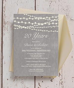 Personalised grey fairy lights wedding anniversary invitations with personalised grey fairy lights wedding anniversary invitations with envelopes pack of 10 stopboris Gallery