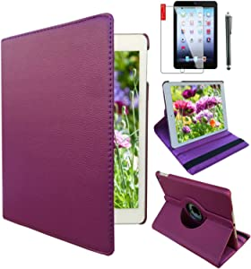 iPad Air 1st Generation case Compatible Models A1474 A1475A1476 MD785LL/A MD876LL/A 360 Rotating Stand with Wake Up/Sleep Function (Purple)