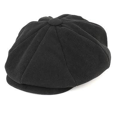 a92d447b Armycrew Men's Oversize XXL Wool 8 Quarter Satin Lined Winter Newsboy Cap -  Black - 2XL
