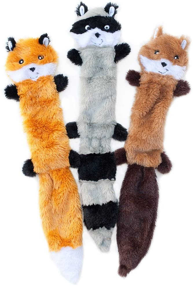 ZippyPaws – Skinny Peltz No Stuffing Squeaky Plush Dog Toy, Fox, Raccoon, and Squirrel – Large