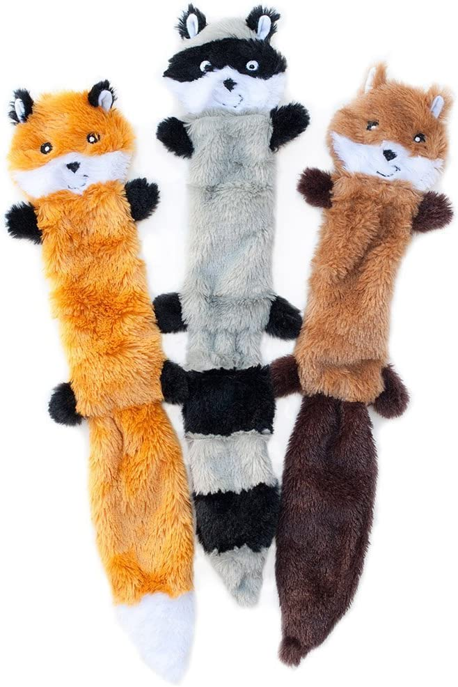 ZippyPaws - Skinny Peltz No Stuffing Squeaky Plush Dog Toy, Fox, Raccoon, and Squirrel - Large: Buy Online at Best Price in KSA - Souq is now Amazon.sa
