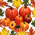 JOLLY SWEETS 38pcs Halloween Artificial Pumpkins Decorations Set, Pumpkins, Maple Leaves for Halloween, Thanksgiving Wedding Party Fireplace Door Dinner, Autumn Festival, Big Maple Leaves