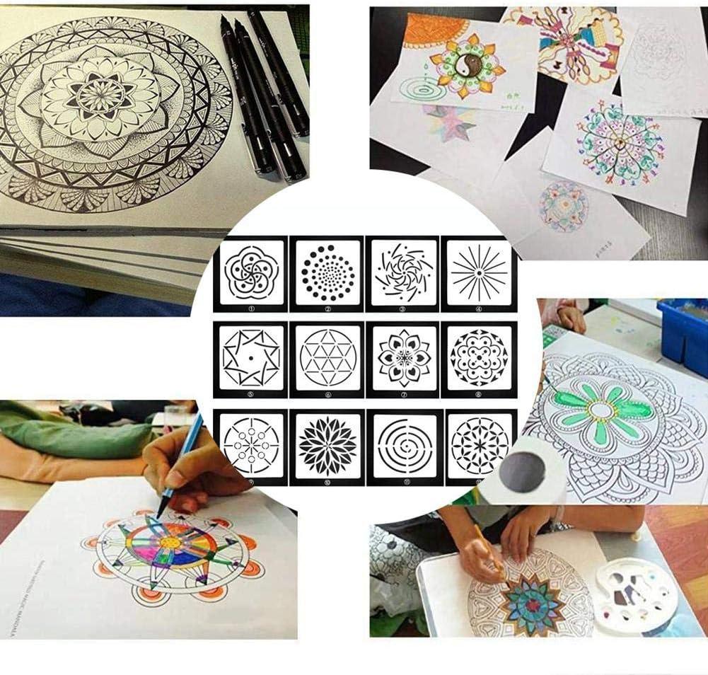 Plantillas de Punto dise/ño de Mandala para Pintar Sobre Madera KOBWA aer/ógrafo y Pared 12 Unidades